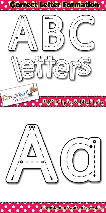 "Help children learn how to correctly form letters in the ""hand writing without tears style (multiple variations of some letters included). These PNG correct letter formation font is so versatile!"