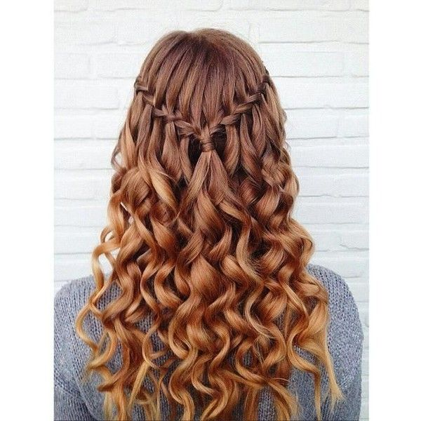 Simple Waterfall Braid & Curls (Hair and Beauty Tutorials) ❤ liked on Polyvore featuring beauty products, haircare, hair styling tools, hair and hairstyles