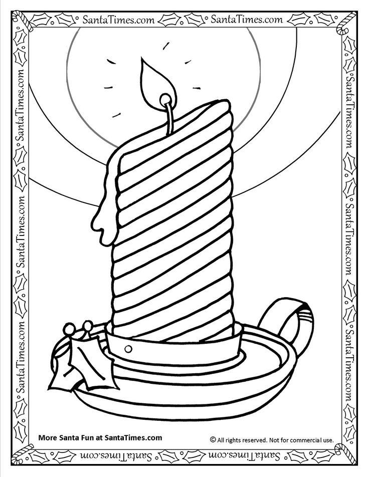 Holiday Candle Printable Coloring Page More Pages At Santa