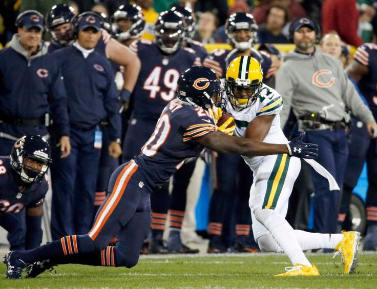 Thursday Night Football: Bears vs. Packers  -  October 20, 2016  -  26-10, Packers  - Chicago Bears cornerback DeVante Bausby (20) tackles Green Bay Packers wide receiver Davante Adams (17) during the first half of an NFL football game, Thursday, Oct. 20, 2016, in Green Bay, Wis.