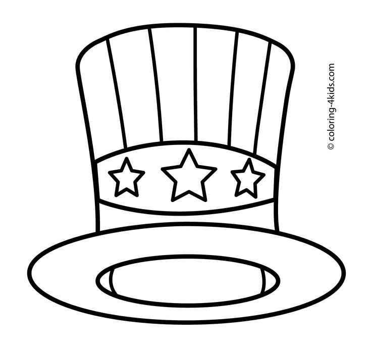 USA Hat Coloring Pages Independence Day For Kids Printable Free