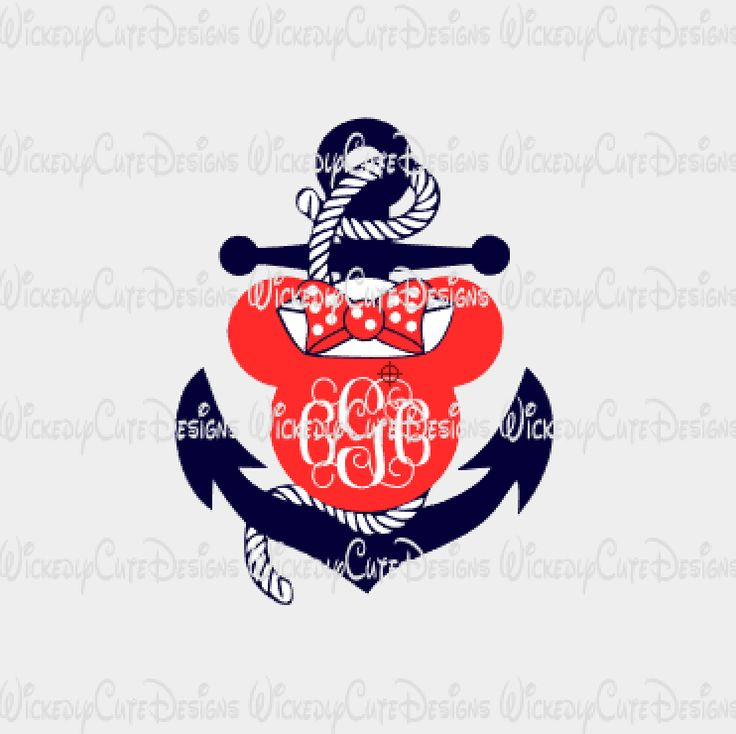Minnie Anchor Monogram Frame SVG, DXF, EPS, PNG Digital File – Wickedly Cute Designs