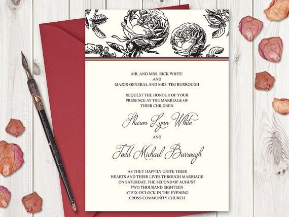 "Wedding Invitation Template ""Classic Roses"" in black, by Shishko Templates. DIY Vintage Style Printable Wedding Invites"