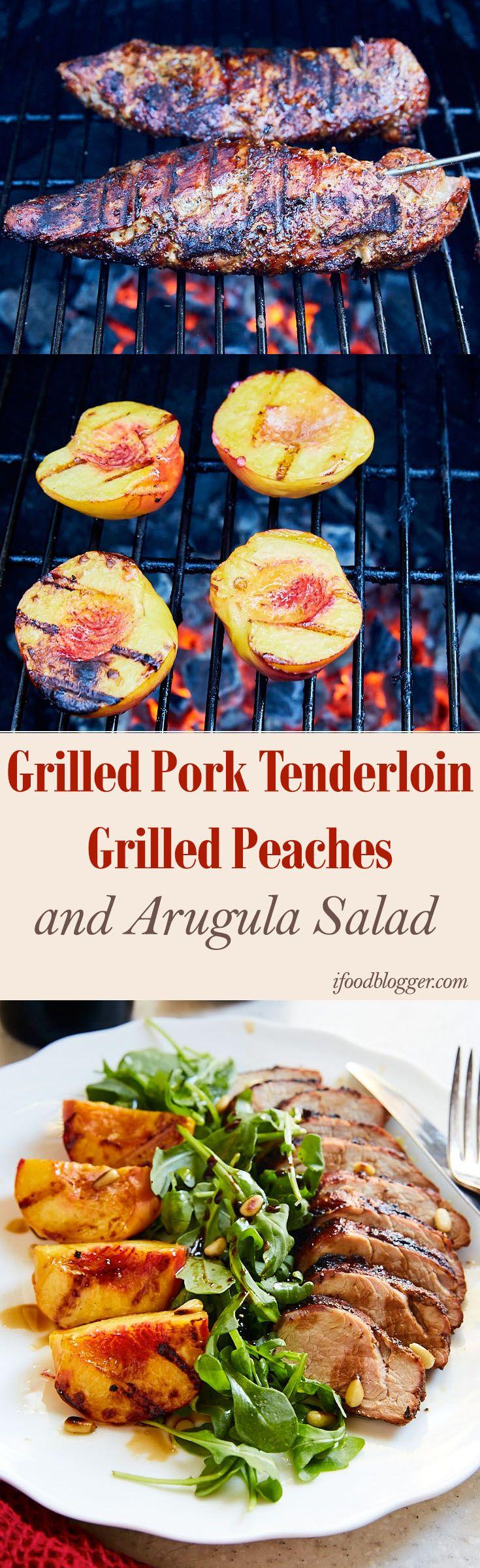 Grilled Pork Tenderloin, Peach and Arugula Salad