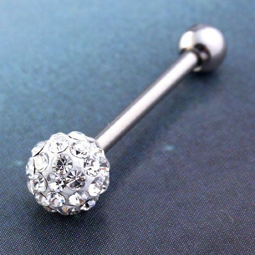 XIUFEN 1pc 14g Gauge Czech Crystal Ball Barbell Tongue Ring Stainless Steel Piercing, http://www.amazon.com/dp/B00D80CUV6/ref=cm_sw_r_pi_awdm_37r-sb1QG3714