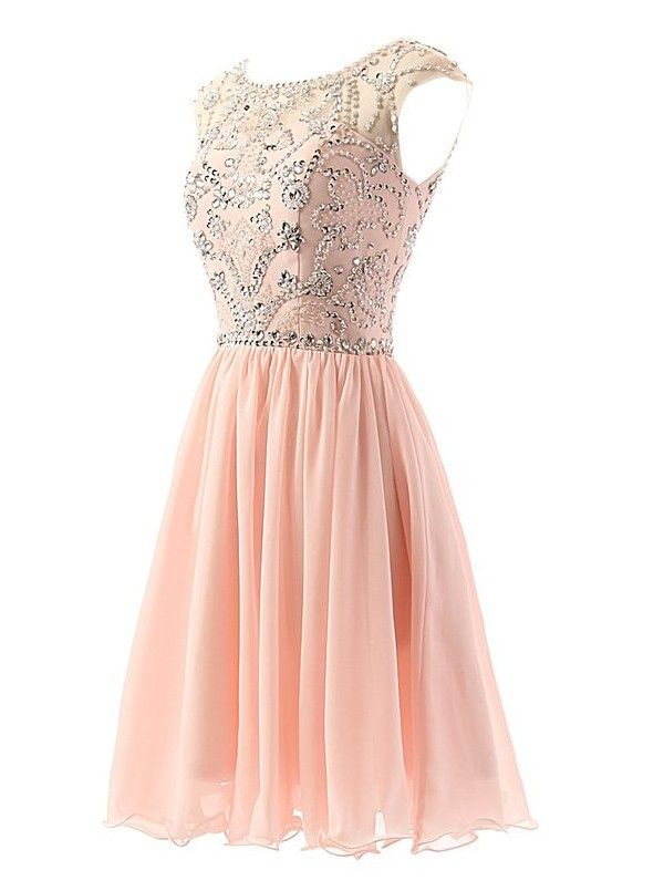 A-line Scoop Short Chiffon Sleeveless Pink Prom/Homecoming Dress With Beading