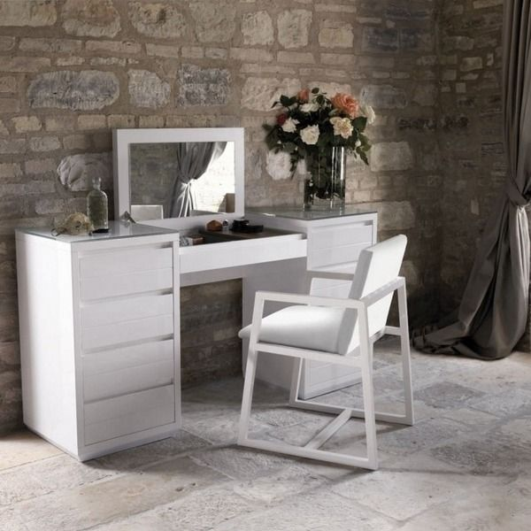 Charming Modern Vanity Table White Wood Folding Mirror Bedroom Furniture Design Ideas