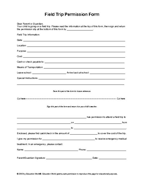 Education World Field Trip Permission Slip Template Art of