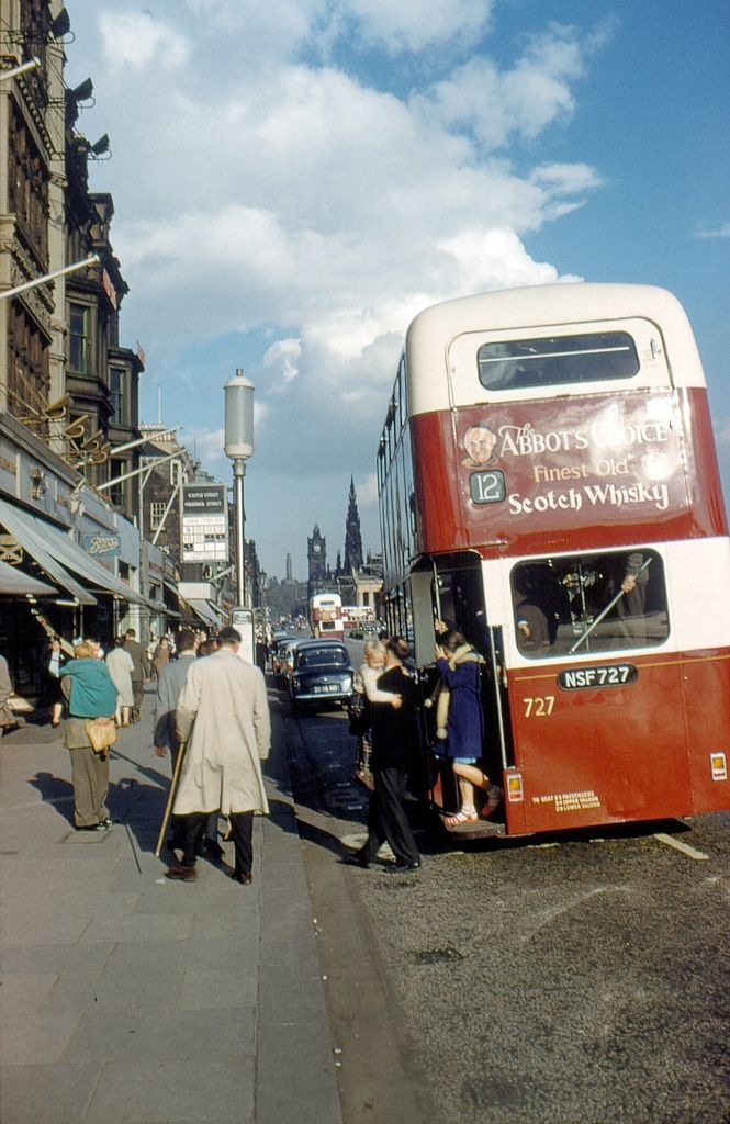 The number 12 Corporation bus arrives in Princes Street. 1962