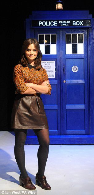 Jenna-Louise Coleman and the TARDIS. I love her outfits!!!