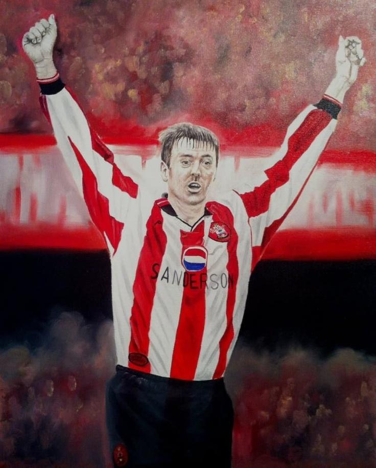 """Matthew Le Tissier 30"""" x 24"""" oils on canvas Southampton FC legend"""