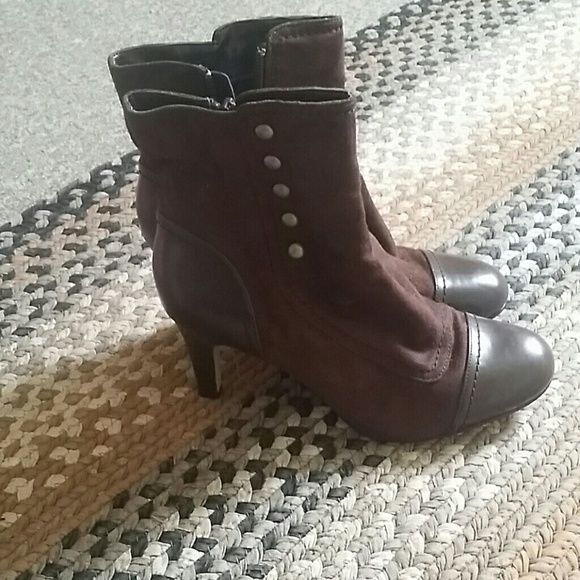 Brown old fashion boots I got them for a gift but they are too big.  It has never been worn. LA LA Rose Shoes Ankle Boots & Booties