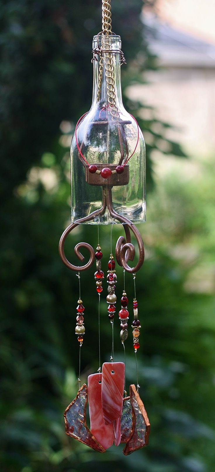 """Razzle Dazzle"" - One of a kind stained glass wine bottle wind chime!"