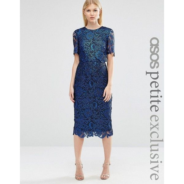 ASOS PETITE Coated Lace Double Layer Wiggle Dress (150 CAD) ❤ liked on Polyvore featuring dresses, navy, petite, petite dresses, navy blue dress, navy blue midi dress, navy cocktail dress and midi cocktail dress