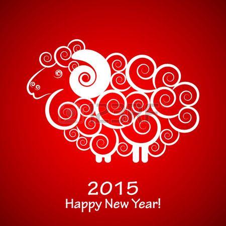Вектор 2015 Счастливый Новый год фон с овцами (Год овец) Фото со стока