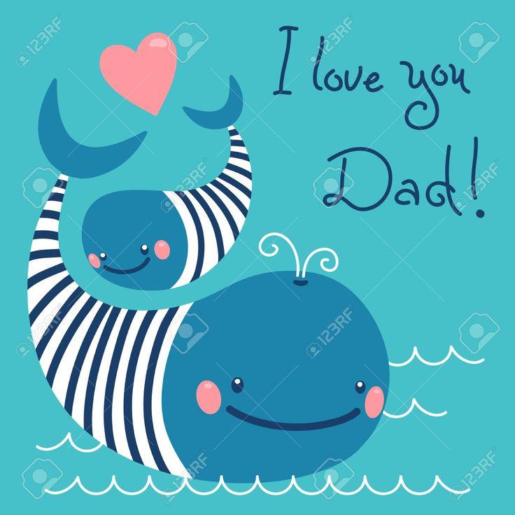 Счастливый День отца. Карта с милой китов. Клипарты, векторы, и Набор Иллюстраций Без Оплаты Отчислений. Image 28785766.