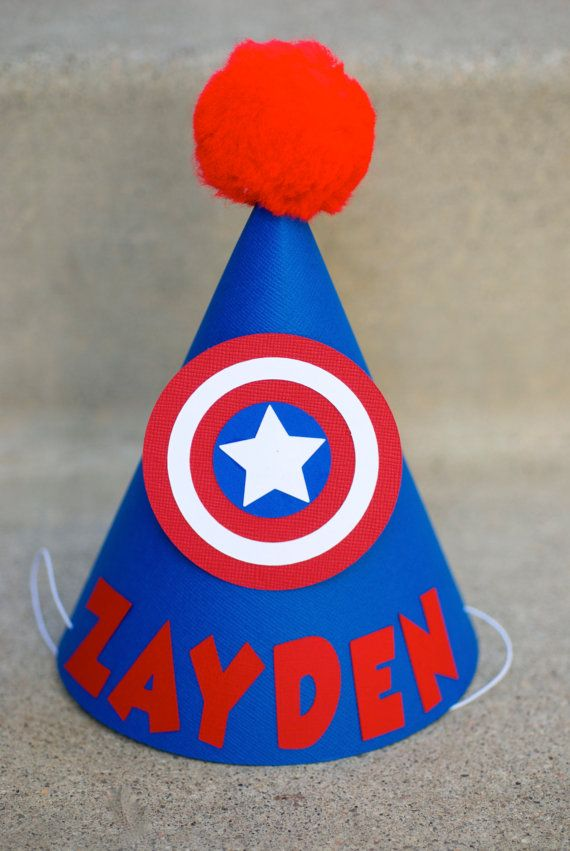 Captain America Inspired Birthday Party Hat   by prettypaperparty, $7.50