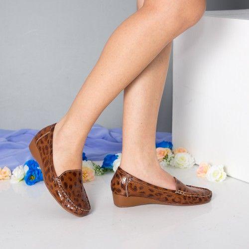 Promotie • Pantofi dama Karin camel cu platforma ortopedica