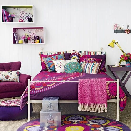 Purple bedroom designed for teens with pops of punchy pink