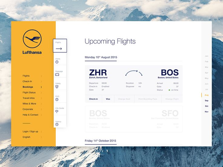 Hi friends! Another shot of a more regular airline site. Here you can check all your flights, check-in and check your Visa Status. Further down you see inactive flights coming up in the future and...