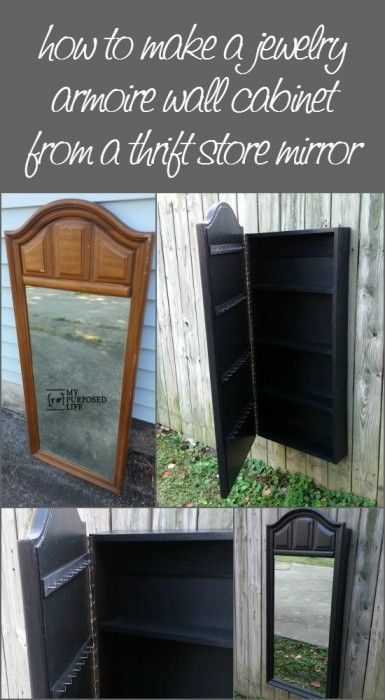 This is Brilliant! How to make a mirrored jewelry wall cabinet out of a thrift store mirror from http://MyRepurposedLife.com