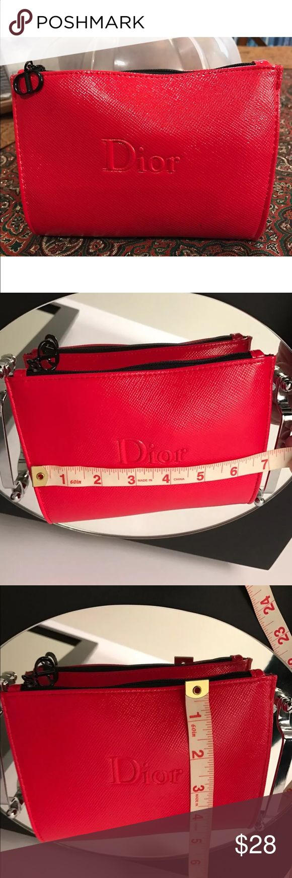 NEW RED DIOR MAKEUP BAG Brand new! Super cute DIOR makeup bag. Came with purchase of Dior Makeup from Nordstrom Dior Makeup