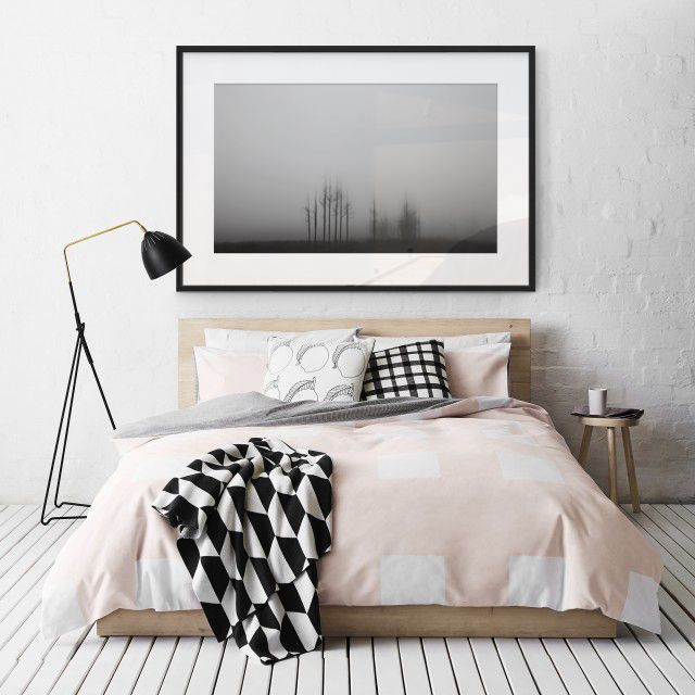 """When hanging art in a bedroom, find a piece that reflects your style, whilst also bringing a sense of relaxation to the space; as done here with one of our """"Doppler"""" collection pieces!"""