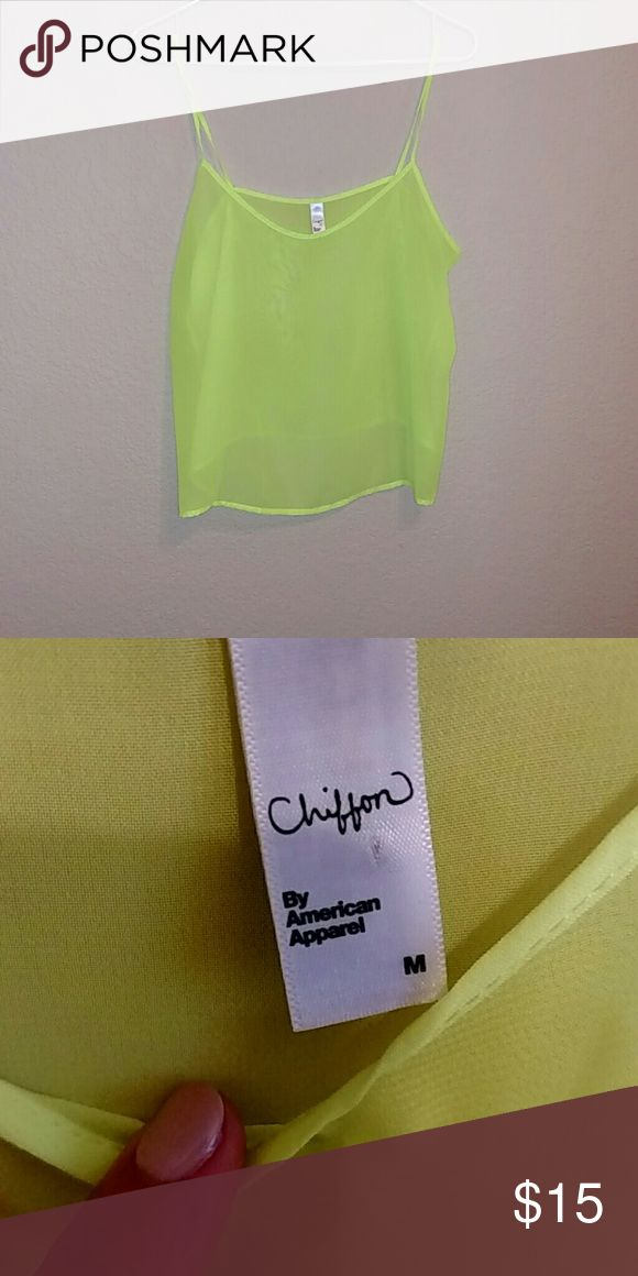 Neon Top Sheer neon yellow/green tank top. Great for a rave! Mint condition?? American Apparel American Apparel Tops Tank Tops