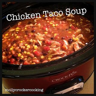 Crock-Pot Chicken Taco Soup. Make this when I need an easy meal for a group. It's delicious!! Served with avocado slices, shredded cheese and crushed tortilla chips!! Yummy!!