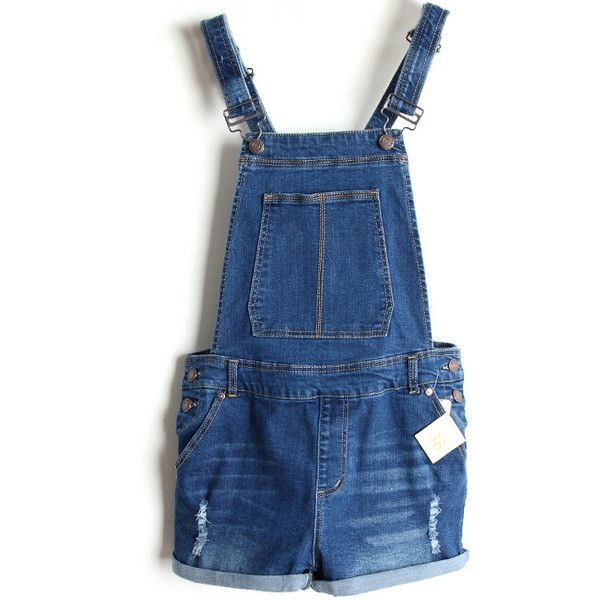 LUCLUC Dark Blue Detachable Straps Mid-waisted Suspender Playsuits (594.550 IDR) ❤ liked on Polyvore featuring jumpsuits, rompers, blue rompers, blue romper and playsuit romper