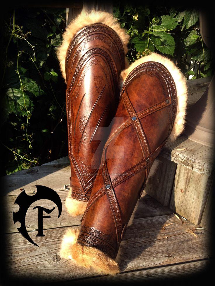 Barbarian women leg armor by Feral-Workshop.deviantart.com on @DeviantArt