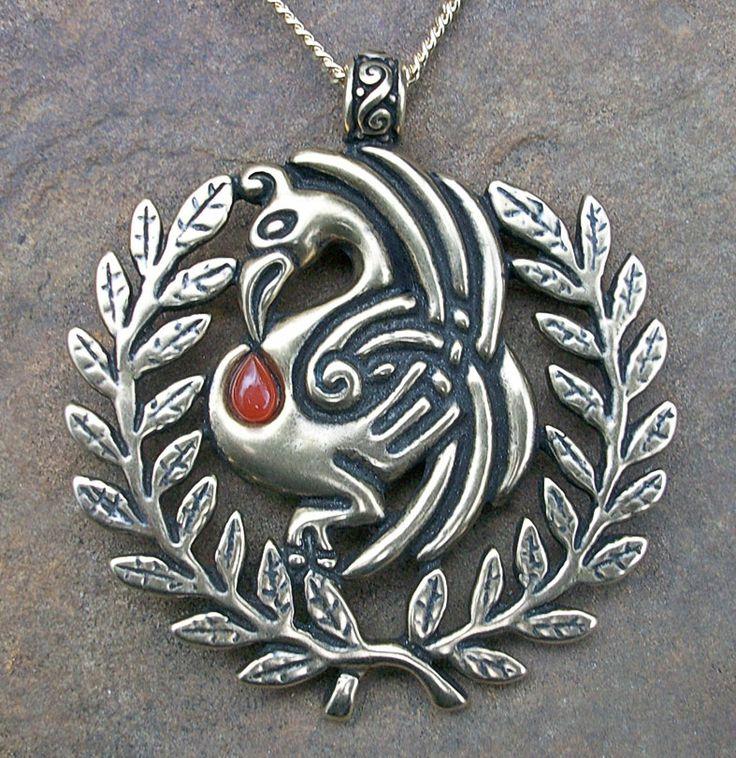 Pelican and Laurel combined Pendant Medallion