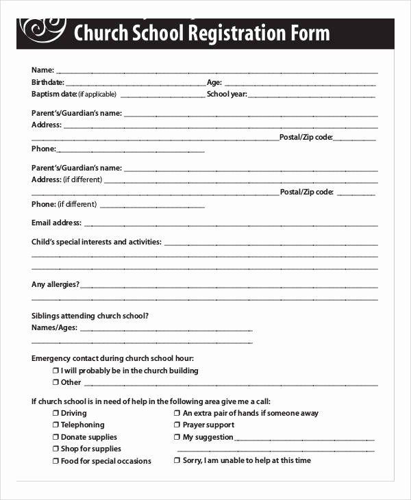 Church Registration Form Awesome Registration Forms In Pdf Registration Form Student Information Form School Admission Form