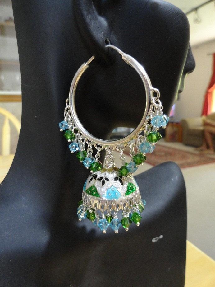 Jaipur Jhumkas - Meenakari Jhumkas with Aquamarine and Fern Green  Swarovski Crystals. $269.00, via Etsy.
