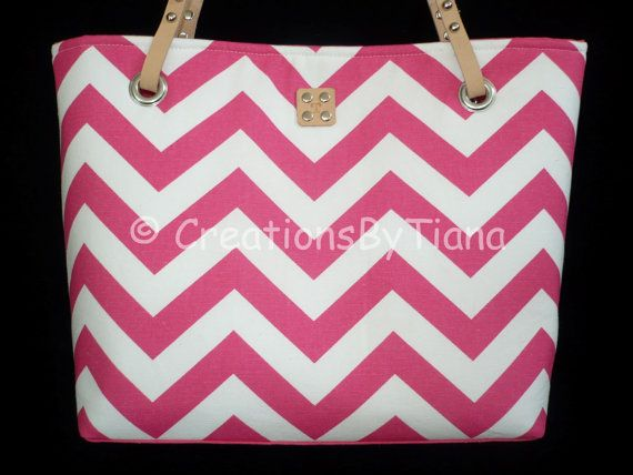 Chevron Purses - Hot Pink Chevron - Purse - bag - Handmade - Handbag - Leather handles on Etsy, $58.00