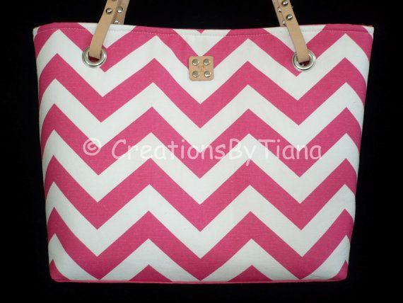 Chevron Purses - Hot Pink Chevron - Purse - bag - Handmade - Handbag - Leather handles on Etsy, $58.00
