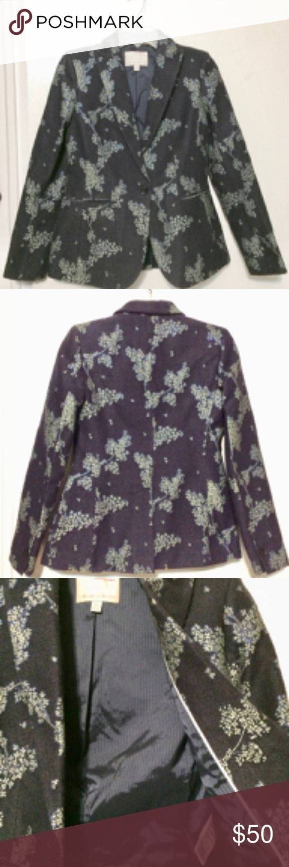 Banana Republic Heritage Collection blazer Beautiful nearly new wool blend blazer. Navy with embossed floral design and just a hint of sparkle means you can dress it up or down. Size 0. Worn once. Banana Republic Jackets & Coats Blazers