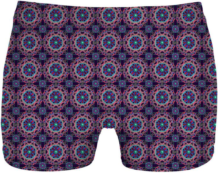 Crossed Floral Lace in Pink and Blue on Purple Men's Undies by Terrella