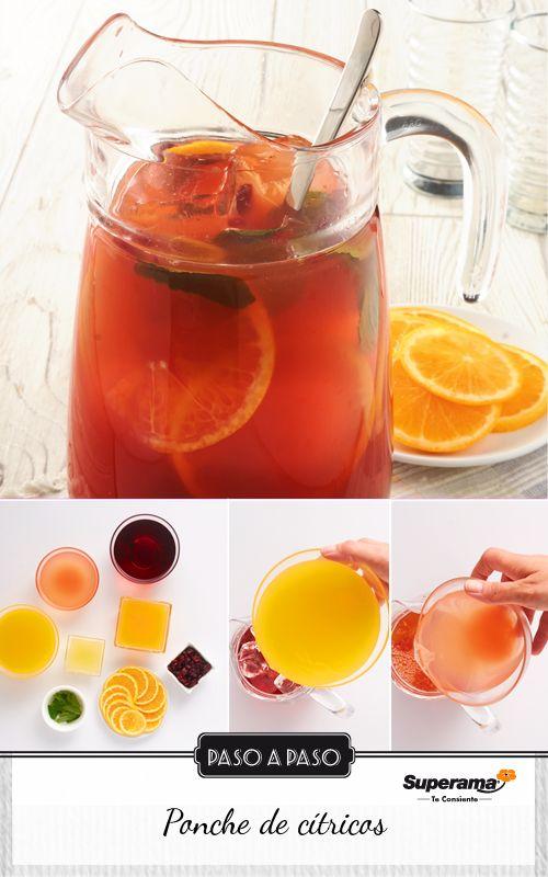 Sirve en una jarra de 2 l, 2 tazas de jugo de arándano, 2 tazas de jugo de naranja, 1 taza de jugo de toronja, 1 taza de jugo de mandarina, ¼ de taza de jugo de limón y 2 tazas de hielo. Agrega 1 naranja en rodajas, ½ taza de arándanos deshidratados, 10 hojas de hierbabuena y refrigera por 1 hora antes de servir.
