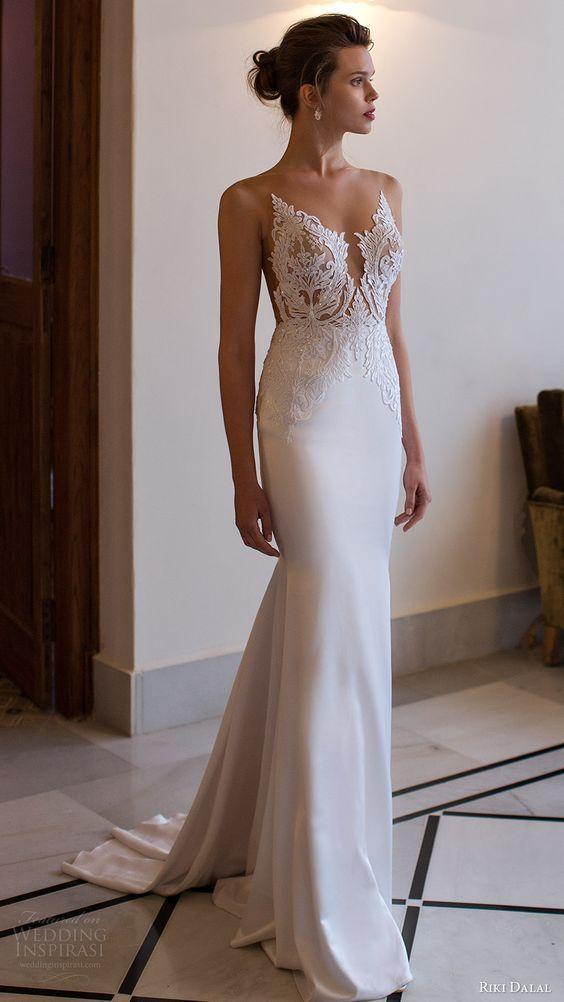 riki dalal bridal 2016 sleeveless modified deep v neck illusion jewel lace bodice sheath wedding dress (1806) mv elegant train