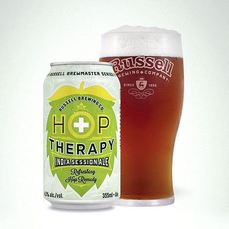 Atmosphere Design for Russell Brewing. Hop Therapy India Session Ale branding. Cans and 6 pack carrier.