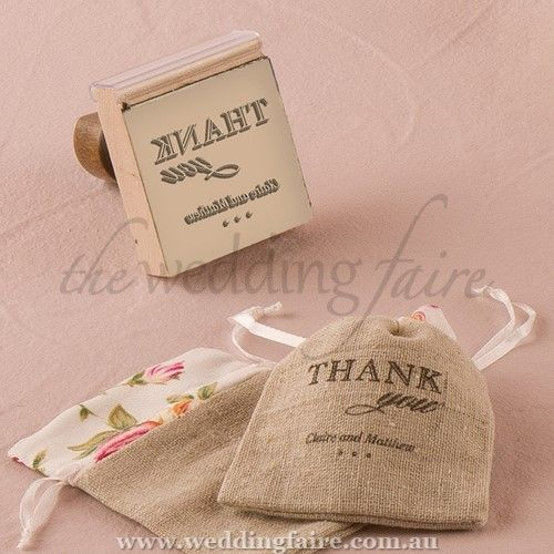 Burlap Chic Thank You Personalised Rubber Stamp - The Wedding Faire  Design your own personalised stamp to use on everything from your wedding invitations to your favour bags.  5.1cm (W) x 6cm (D) x 7.3cm (H)  Rubber (stamp pad) and wood (handle)  Ink pad not included  The design measures 2 inches x 2 inches