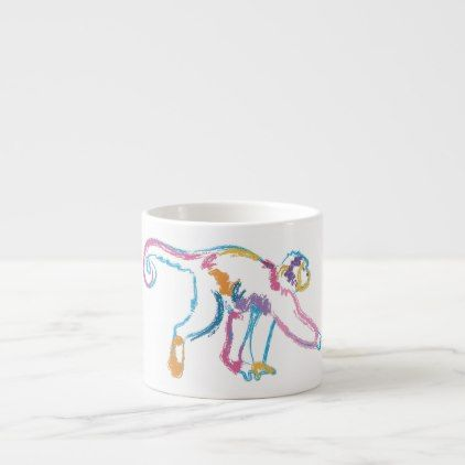 Rainbow Monkey Espresso Cup - animal gift ideas animals and pets diy customize