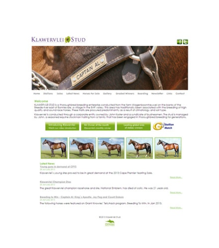 Klawervlei:      Klawervlei Stud Farm approached us to revamp their current website. The idea was to build a fresh modern website with interactive capabilities. The website was kept simple yet refreshing to the eye. Klawervlei.co.za includes an interactive voting poll and a stunning flash banner built by Trade Mark. All their horses' info is kept fully up to date daily by Trade Mark Media.