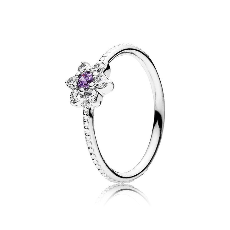On Sale Pandora Forget Me Not, Purple Clear CZ Ring