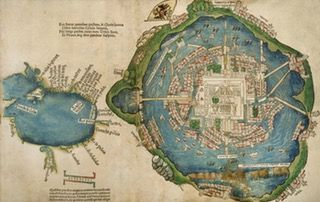 Hernán Cortés' map of Tenochtitlán and the Gulf of Mexico #map #mexico