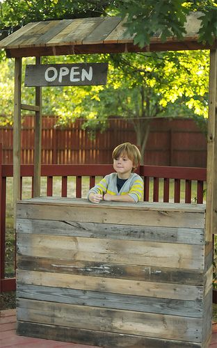 """This post claims this DIY lemonade stand can be made for only $3. If so, awesome! I'd add wheels and a """"Lemonade"""" sign - and it would be super cute outside the pool!"""