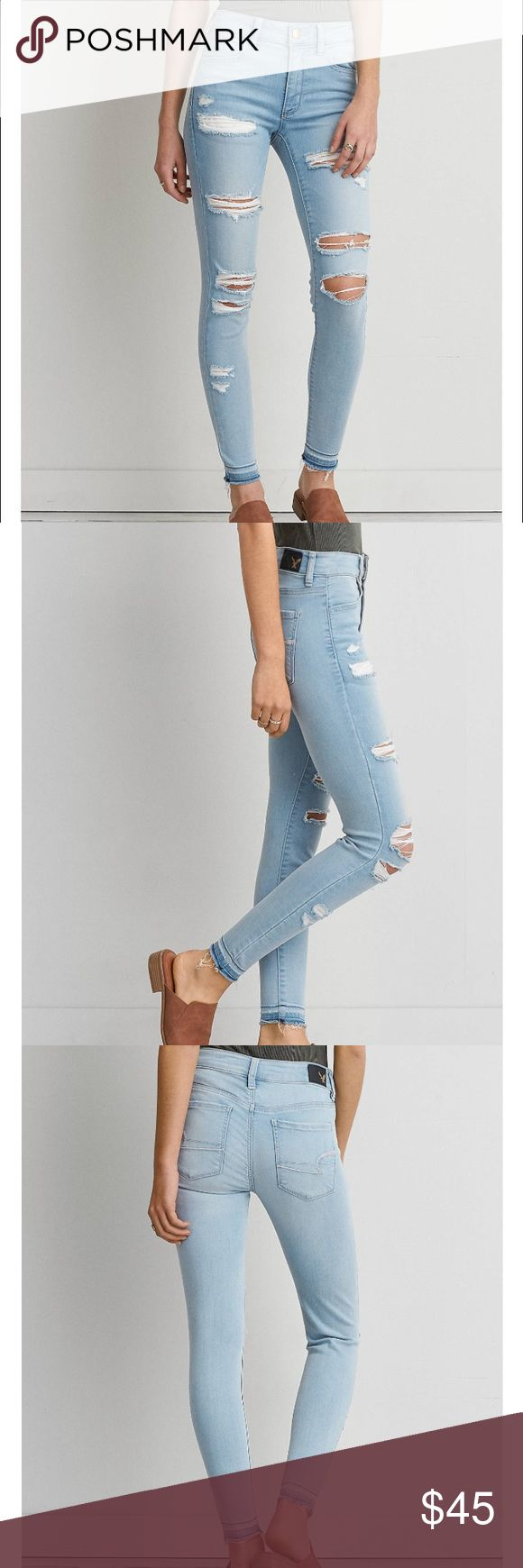 American Eagle Sateen X Hi-Rise Jegging NWT IN BAG Super soft American Eagle Jeggings brand new, never even taken out of shipping bag. Light wash distressed sateen denim. These are a 2 short, sold out in stores and online! American Eagle Outfitters Jeans Skinny