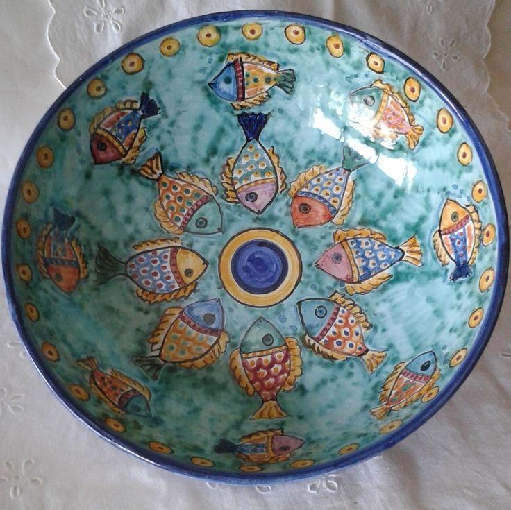 Ciotola / Spaghettiera / Insalatiera in ceramica dipinta  a mano.Dec Pesci