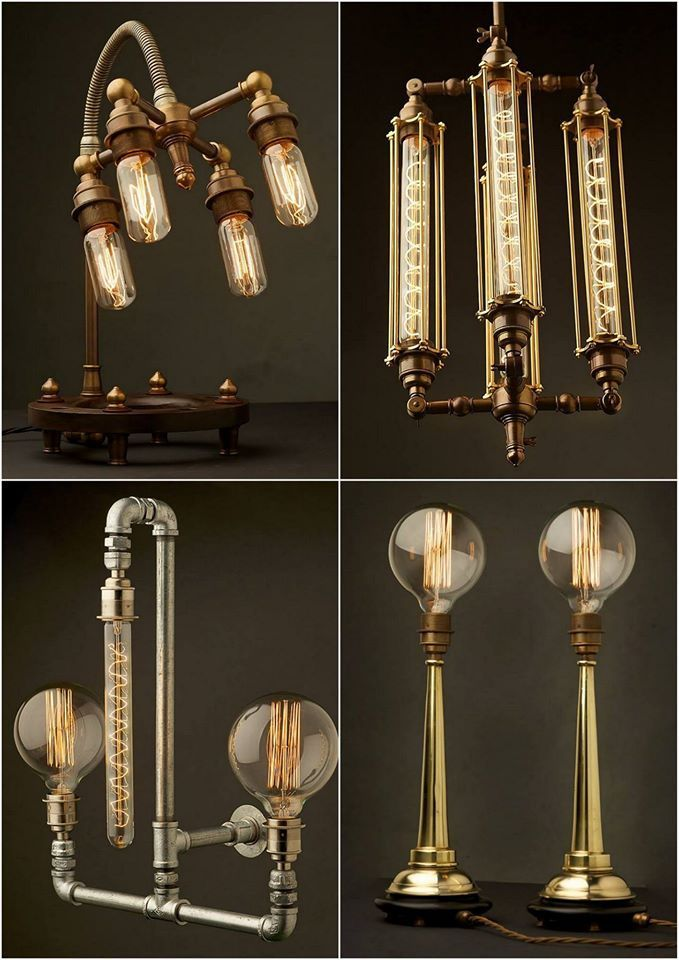 Edison Light Globes, Brassy & Classy Steampunk-Style Lamp Fixtures